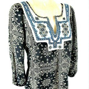 Solitaire womens M blue EMBELLISHED boho top (G)E2